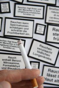 Warnung auf Zigarettenschachtel