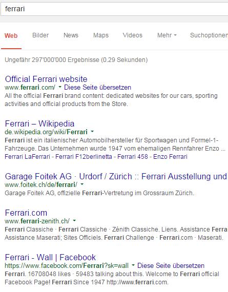 Websuche mit Google: 'Ferrari'