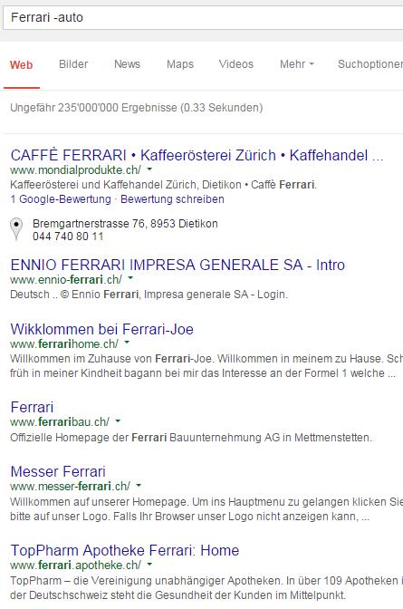 Websuche mit Google: 'Ferrari -auto'