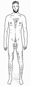 Ein männlicher, sehr schlanker und hochgewachsener Körper mit Haaren auf der Brust, an den Beinen und im Intimbereich. Die Arme und Achseln sind rasiert. Die Person hat einen Penis ohne Vorhaut. Sie trägt einen dichten, schwarzen Bart und hat kurzes, lockiges Haar am Kopf.